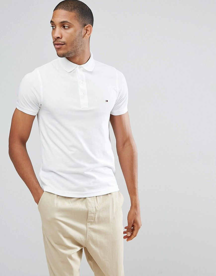 Tommy Hilfiger Slim Fit Polo In White White Tommy Hilfiger Polo Shirts Tommy Hilfiger Slim Fit Polo