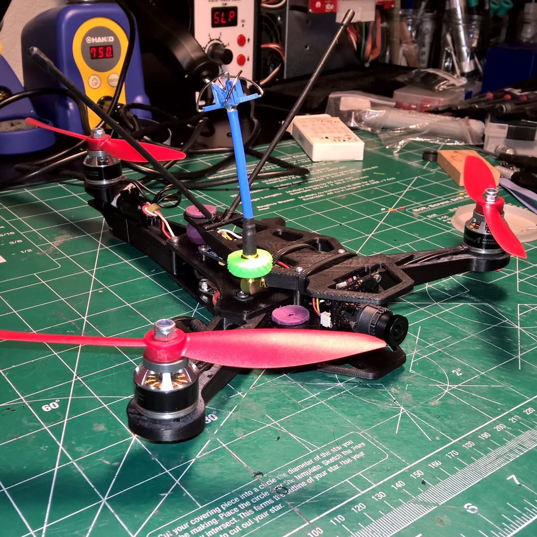 An awesome Pirntrbot pic! My new #3dprinted #fpvracing #tricopter. First hovers were successful but too much snow outside for a proper maiden. #multirotor #drone #Printrbot #FPV #MultiGP by peterprovost Check us out http://bit.ly/1KyLetq