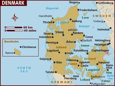 Map Of Denmark Clearly Showing The Island Of Funen Fyn Where Amongst Others Hans Christian Andersen Was Born The Jutland Penins Denmark Map Denmark Map