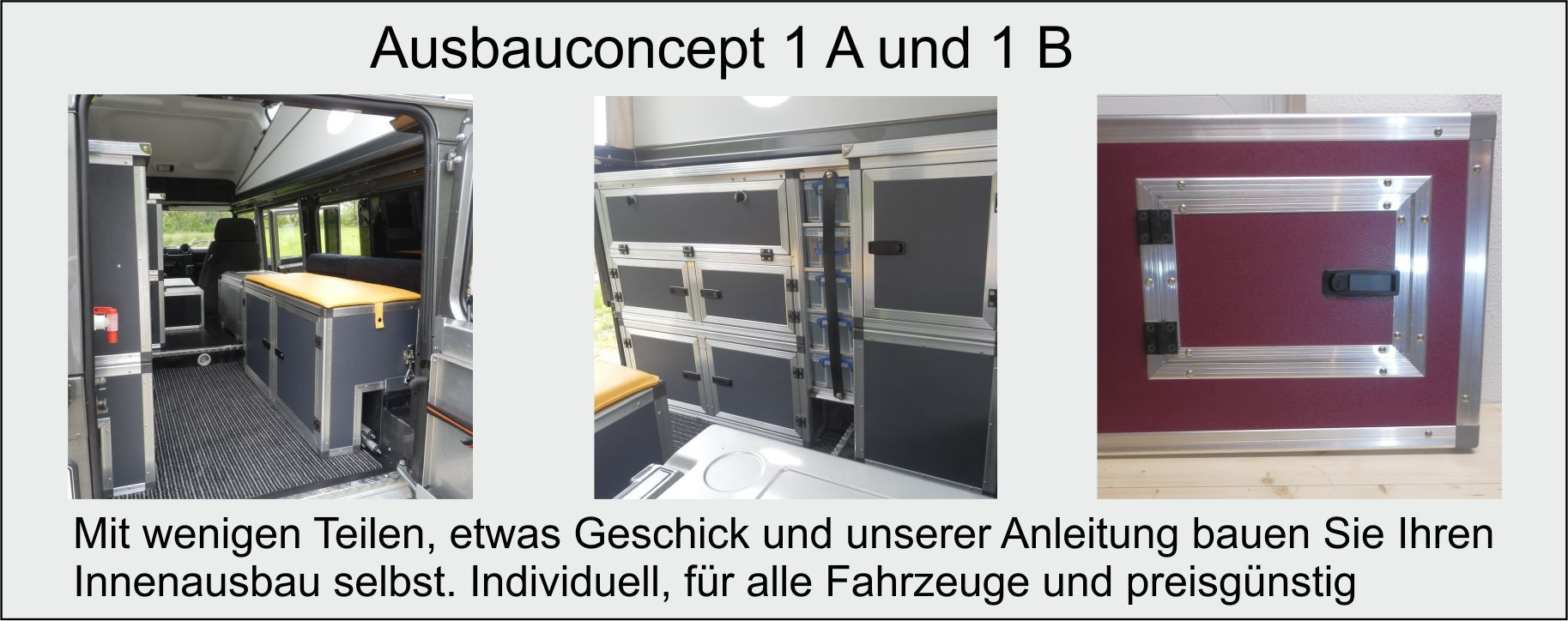 Ausbauteile für Concept 9 wie Ausbauplatten, Winkelprofile