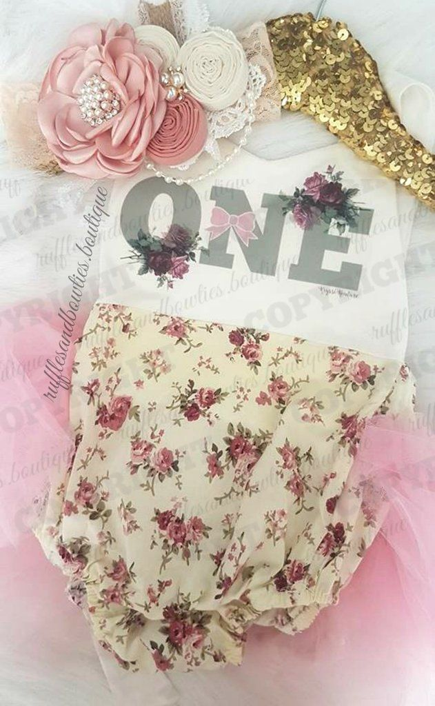 2c86e18c0 EXCLUSIVE    Baby Girls Dusty Rose   Green Floral Tutu First ...
