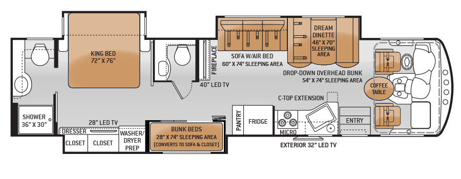 Rv Floor Plans Two Kids And Master King Bed The Floorplan Features Full Specs Related Models Floor Plans Rv Floor Plans Floor Plan Design