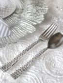 rhinestone bedazzled silverware utensils for an all white party