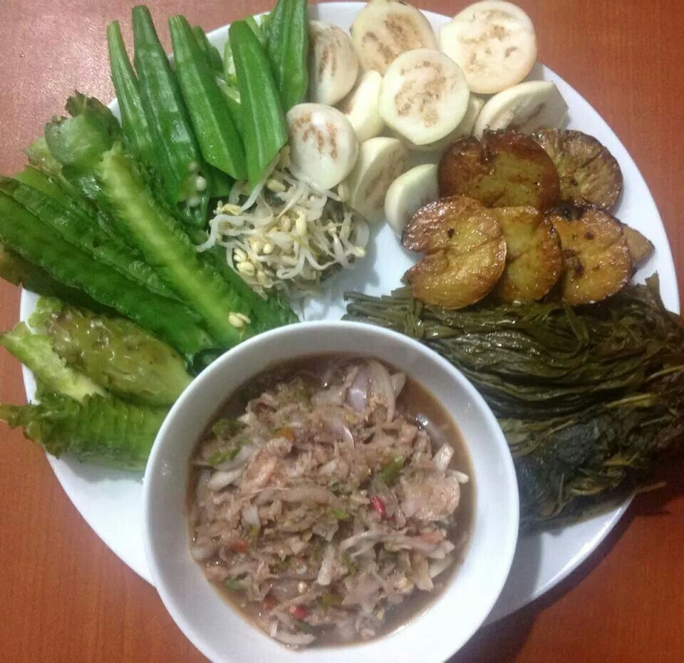 Burmese essential side vegetables and sauce