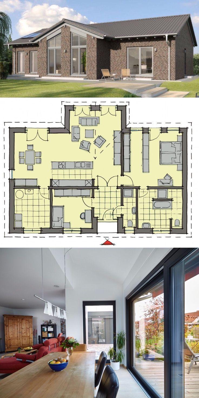 Bungalow Haus mit Satteldach, Klinker Fassade