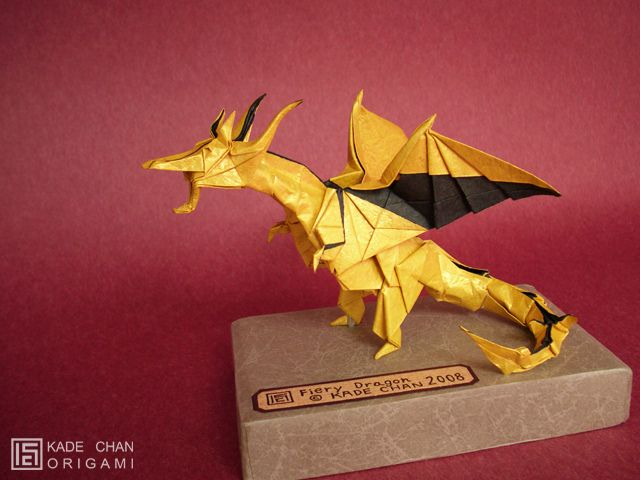 Another Origami Dragon Design By Kade Chan The Fiery Is Made From One Sheet Of Paper In This Case With A Second Piece Tissue Used To