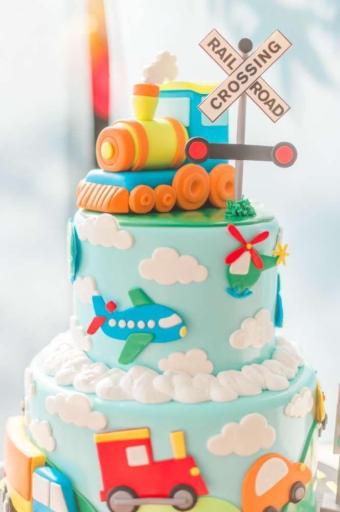 Plains Trains And Automobiles Birthday Party Ideas Photo 1 Of 112 Catch My Party Boybi Boys 1st Birthday Cake Transportation Birthday Party Cars Birthday