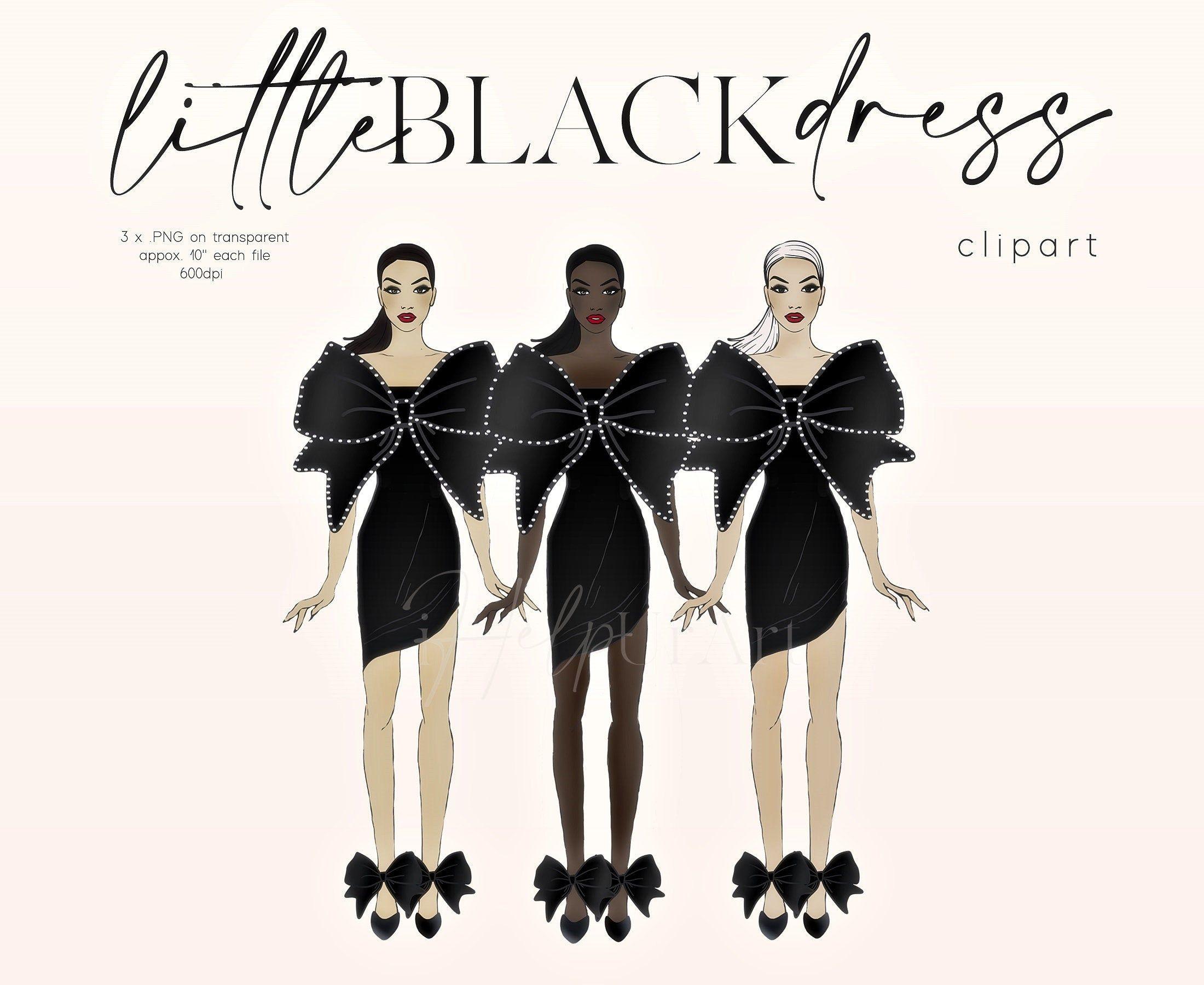 Fashion Illustration Clip Art Girls Clipart Little Black Etsy Dress Illustration Fashion Illustration Girl Clipart