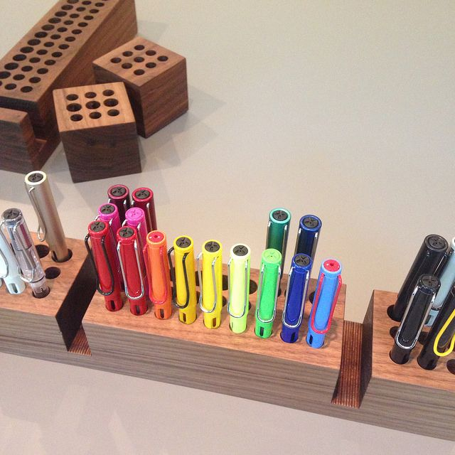 Love the Lamy collection! Looks especially nice displayed in a Dudek Modern Goods handmade wooden pen storage cube thing. ;)