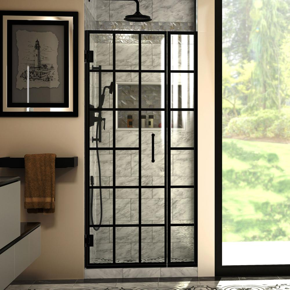 Dreamline Unidoor Toulon 34 In To 34 1 2 In W X 72 In H Frameless Hinged Shower Door In Satin Black In 2020 Frameless Shower Doors Shower Doors Bathtub Doors