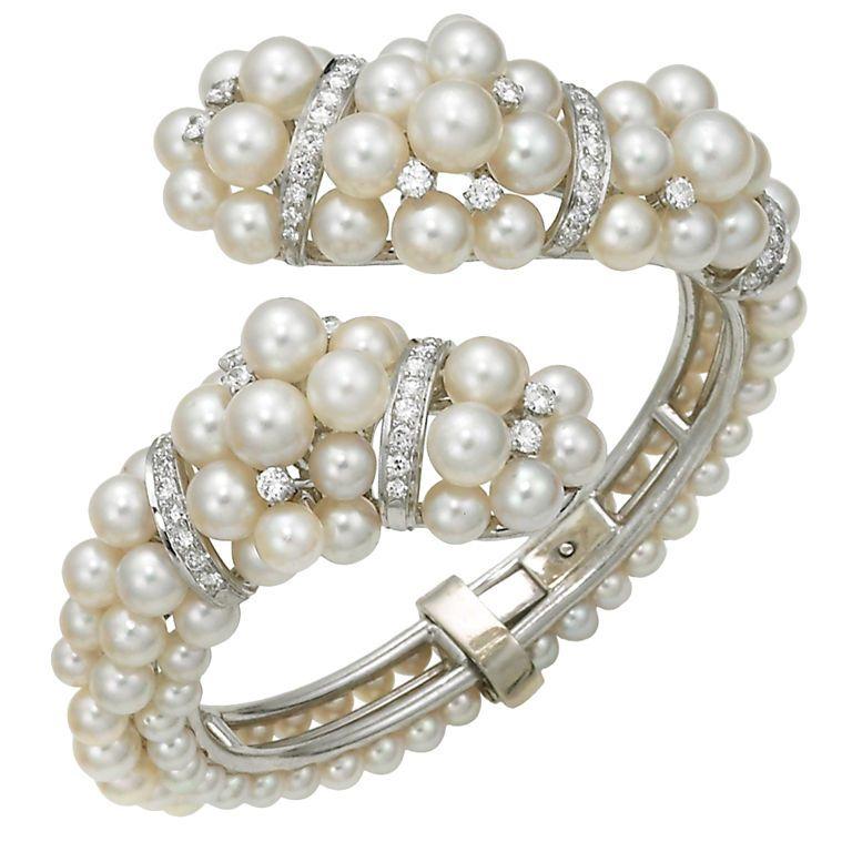Pearl and Diamond Cuff, circa1950s