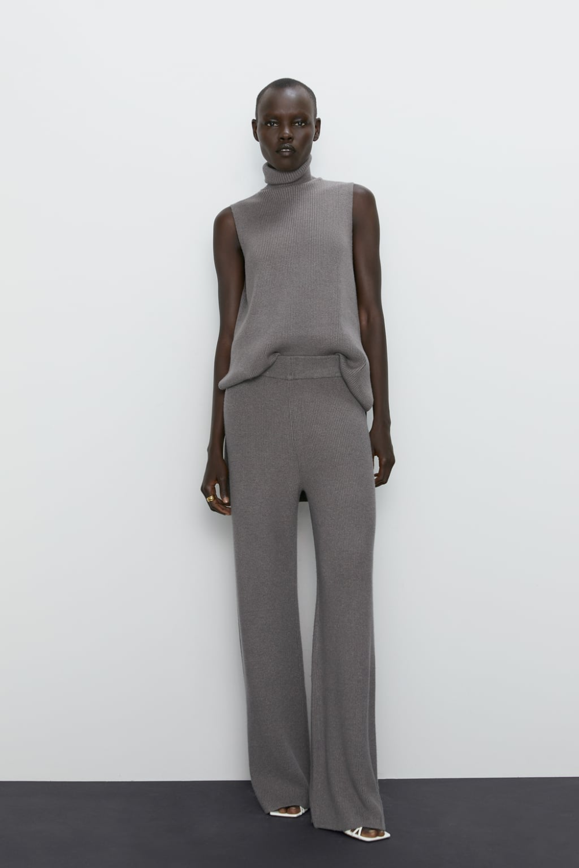 Pantalon Punto Ancho Ver Todo Pantalones Mujer Zara Espana Conjuntos Comodos Ropa Ropa De Moda