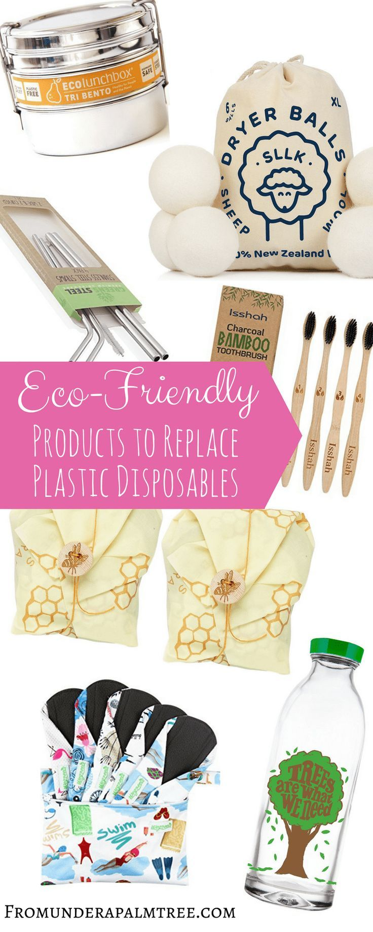 7 Eco-Friendly Products to Replace Plastic Disposables | Disposable Plastic Alternatives | Eco-friendly | Go Green | Sustainable living | single-use plastic alternatives | Earth Day | Reusable | recycle | biodegradable | green living | sustainable | reusable pads | menstrual cups | reusable straws | eco-friendly straws | faucet face | dryer balls | ECOlunchbox | bees wrap | charcoal | toothbrush |