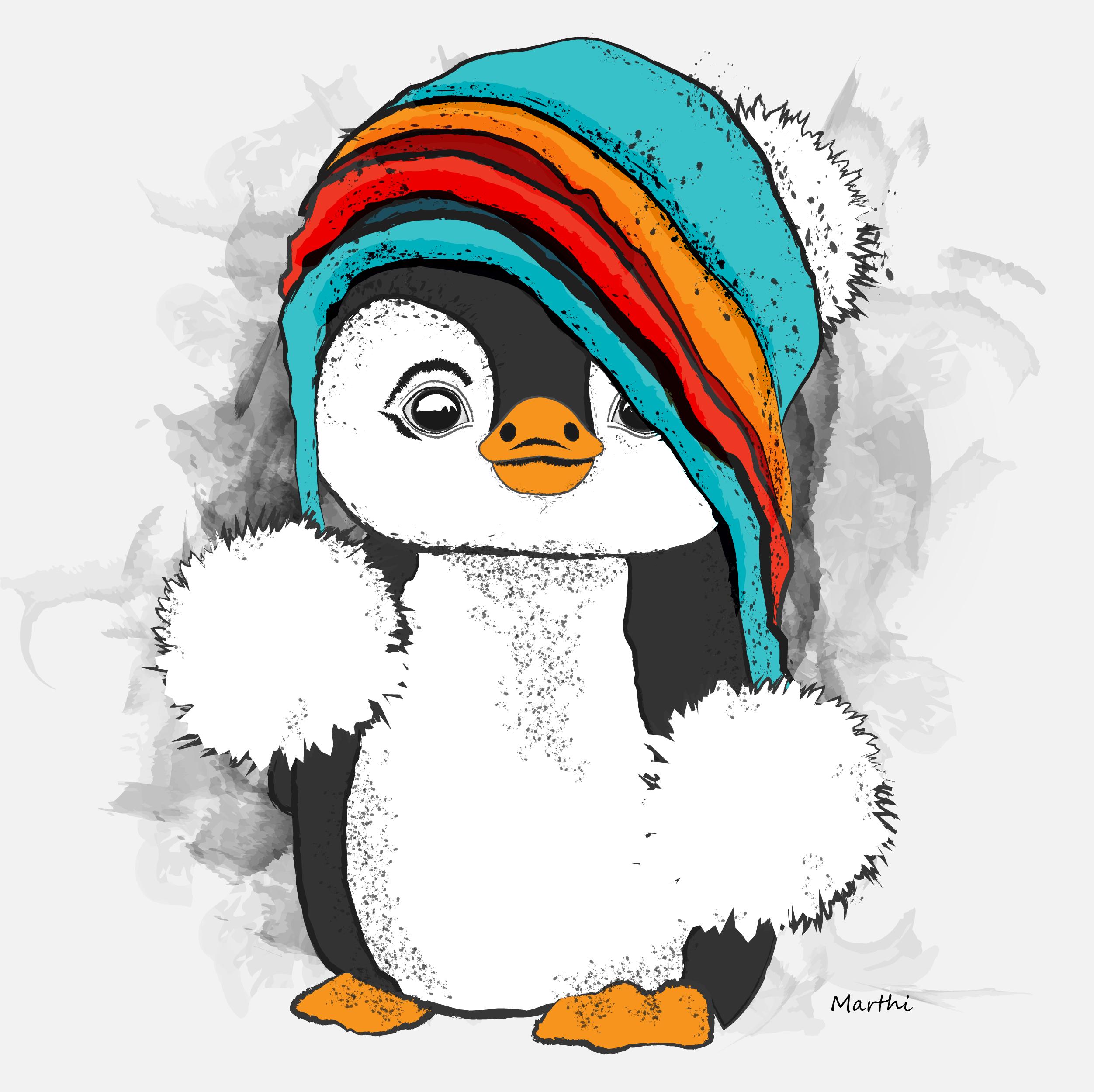 Pinguino (ilustrator CC2018) | Dibujos de pinguinos, Pinguinos animados,  Arte de pingüino