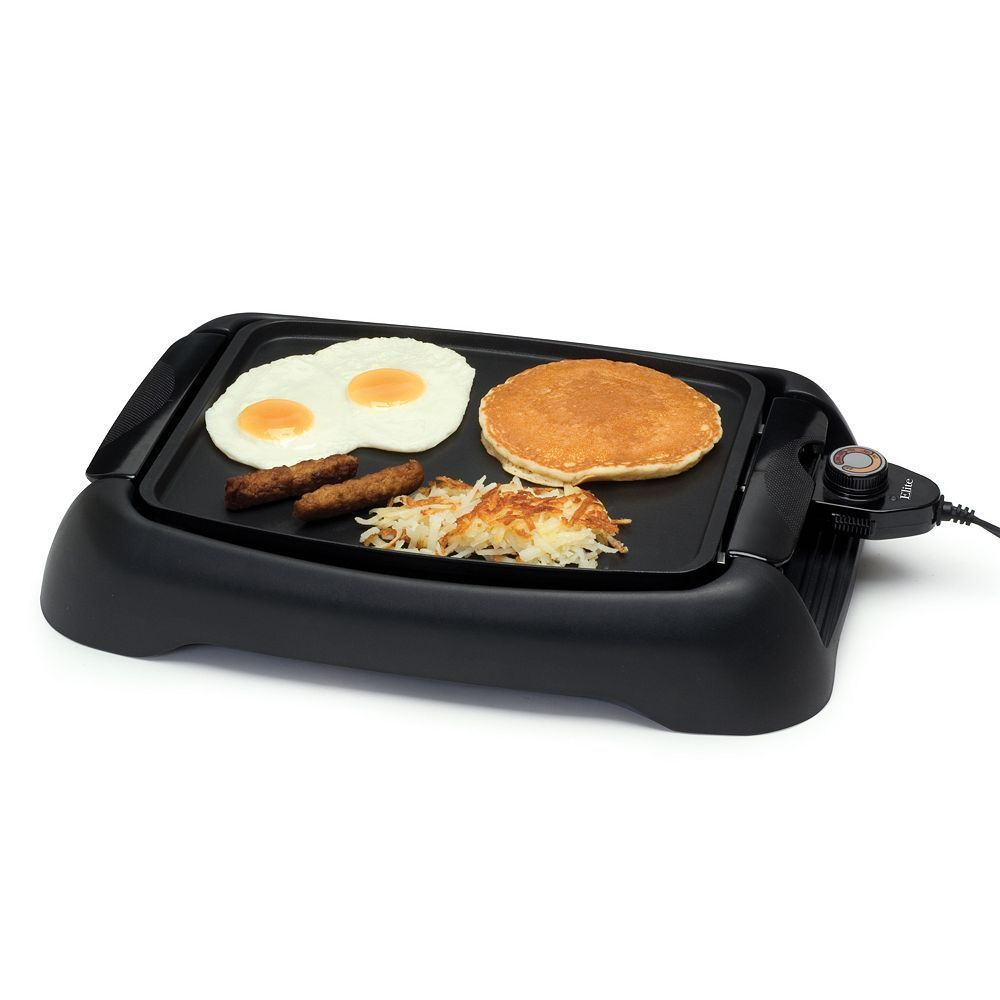 Elite Cuisine 13 In Countertop Griddle Black Products Cooking Appliances Griddles Flat Top Grill