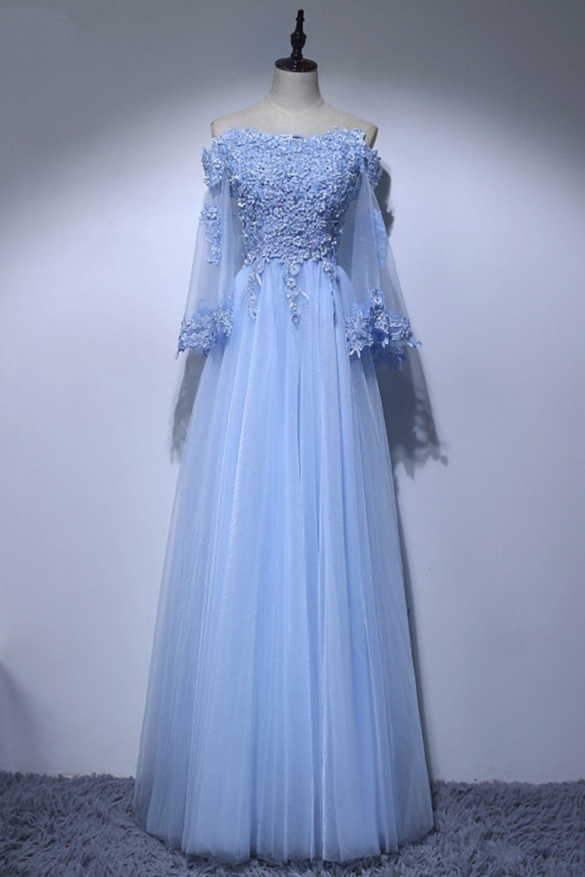 Blue lace off shoulder long sweet 16 prom dresses | Bride/Maid Dress ...
