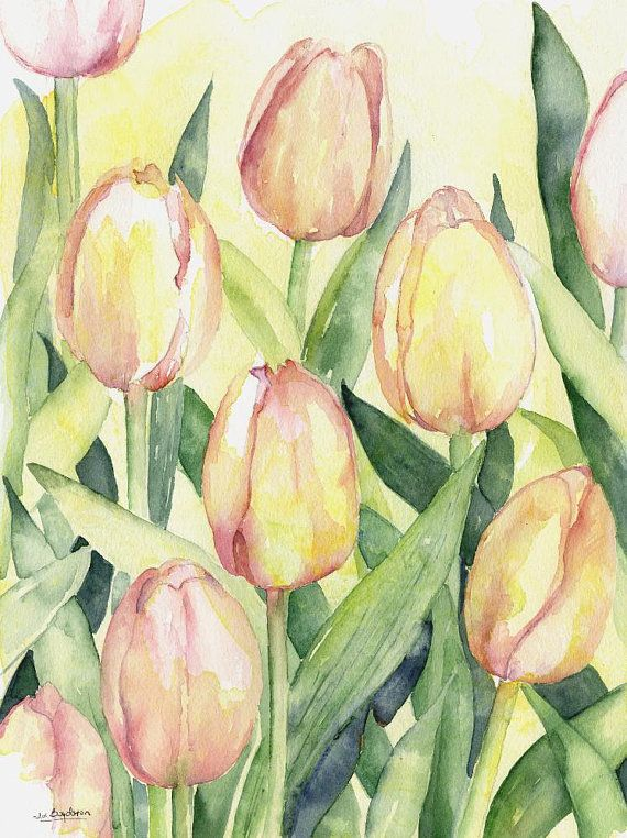 Watercolor Pink Tulips Original Painting Tulip Decor Tulip Lover - new certificate of authenticity painting