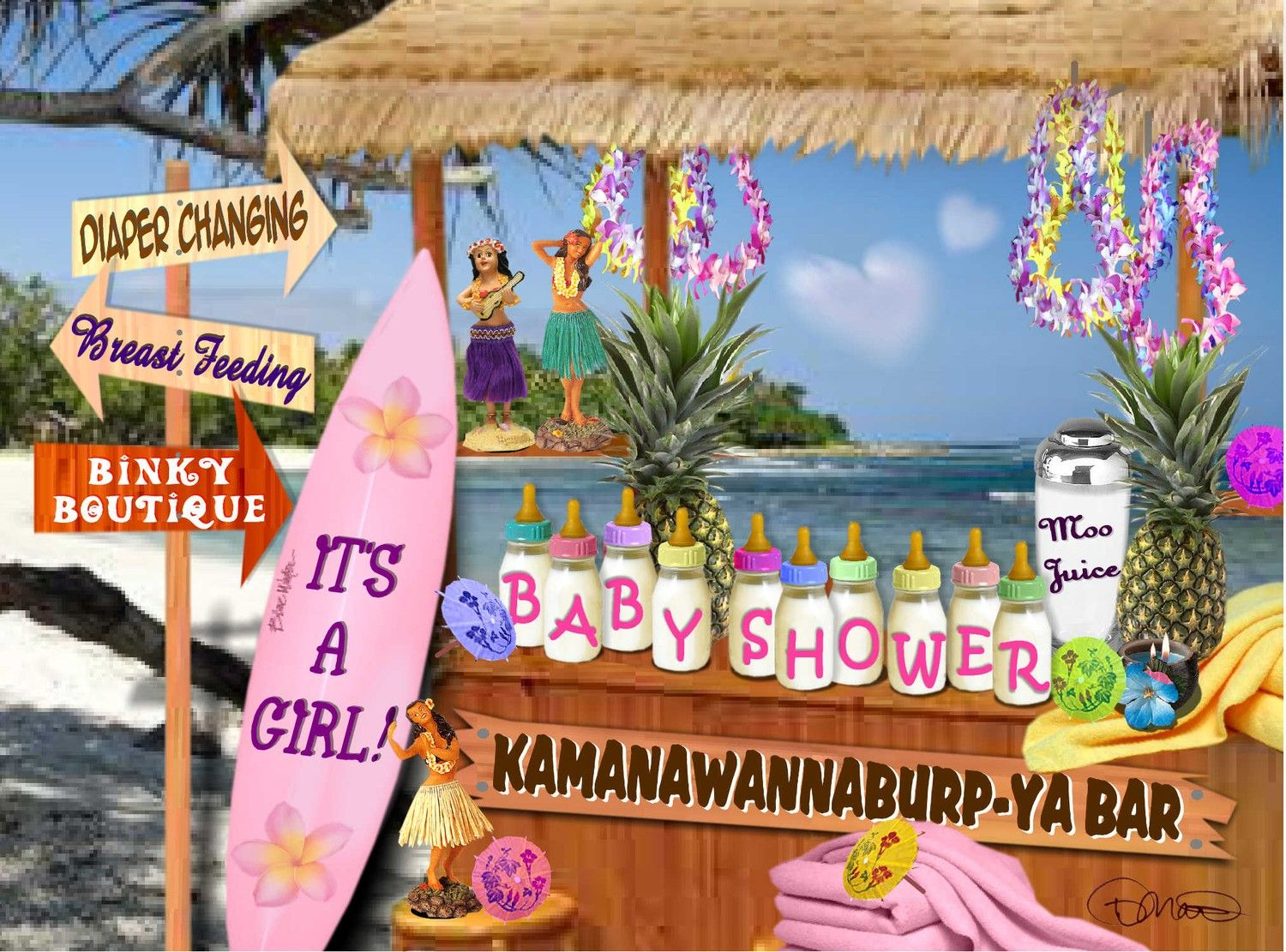 Baby Shower Girl Hawaiian Theme Custom Package Of 30 By Artbydi, $65.00