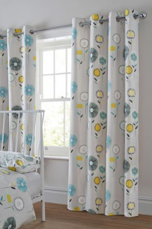 Buy Retro Floral Grey Eyelet Curtains online today at Next New