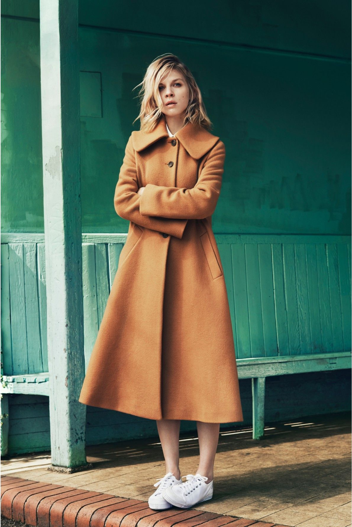Clemence Poésy in a camel coat #style #fashion #sneakers