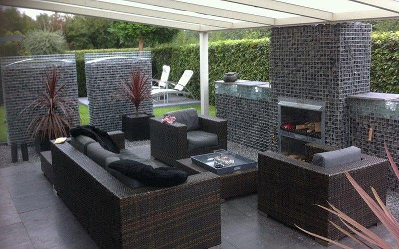 Gabion Blokhaard BBQ Hoog tuin Pinterest Gardens - küche mit grill