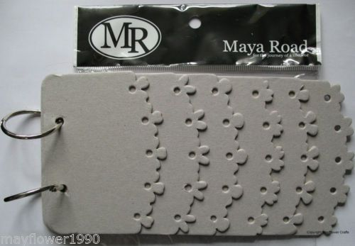 "Maya Road Chipboard SCRAPBOOK ALBUM 7"" x 4"" Flower edge layer book | eBay"