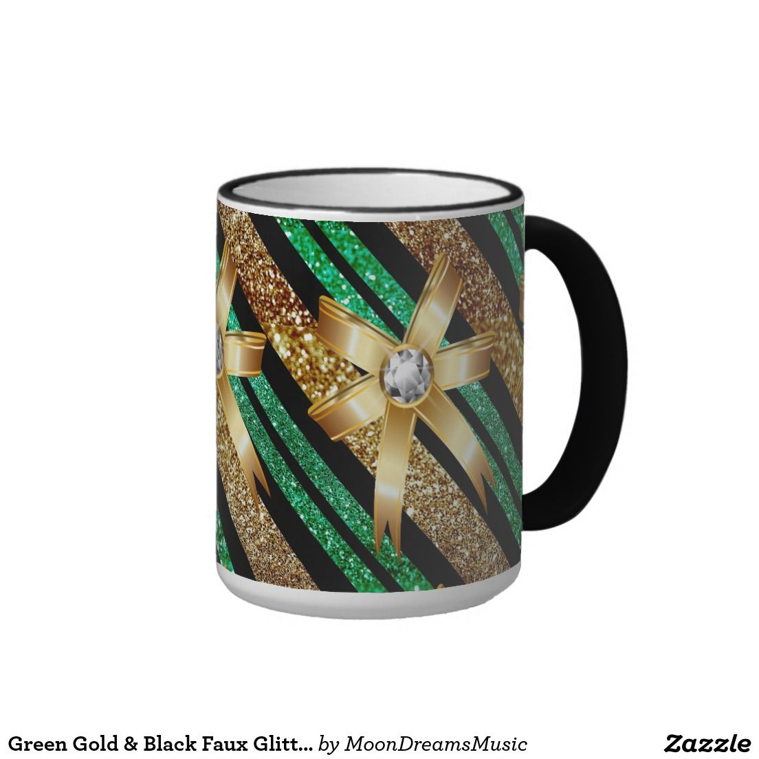 #GreenGoldAndBlack #FauxGlitter #GoldDiamondBows #BlackRingerMug by #MoonDreamsMusic