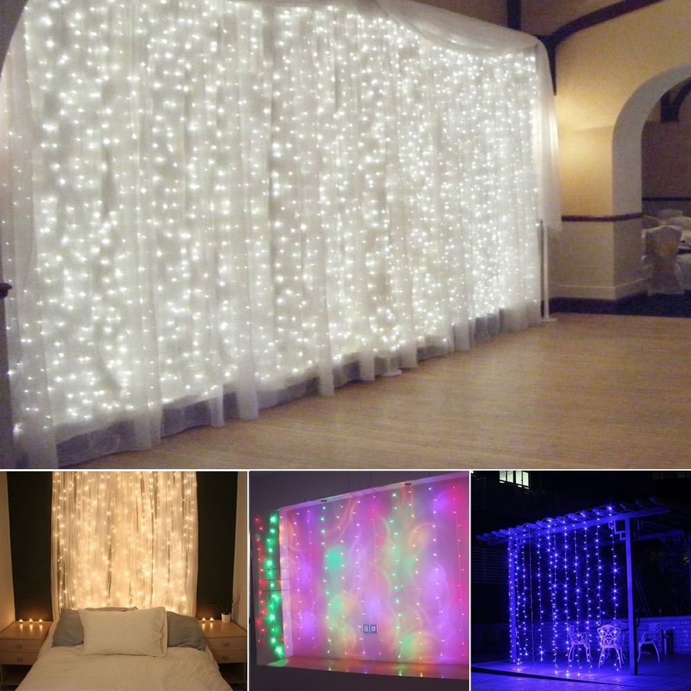3-15M LED Giant Waterfall Curtain Home Party Fairy String Decor ...