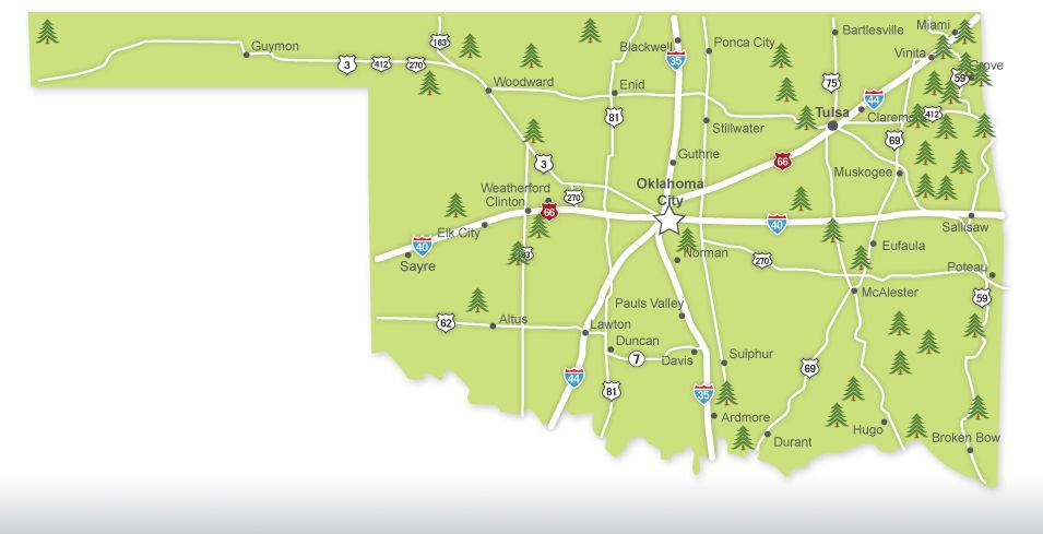 This Handy Map Shows You The Location Of All Oklahoma State Parks: State Map Of Oklahoma With Cities At Slyspyder.com