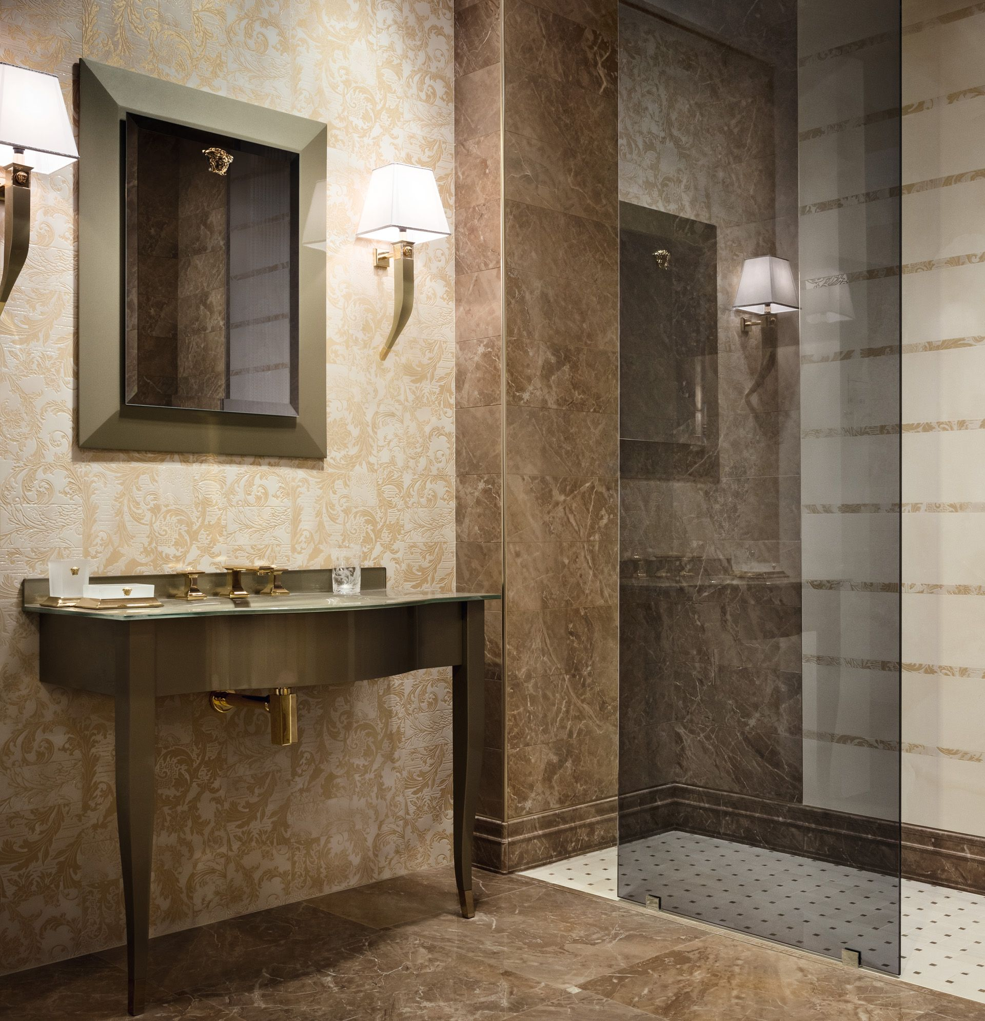 Interiors Versace Homehome Collectionsversace Tilesfashion Showroommarblesempireflowshowersbathroom