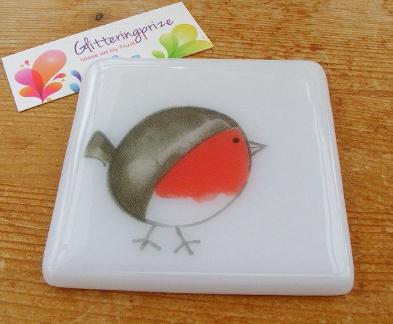 Christmas Robin Fused Glass Coaster UK by shineon2 on Etsy, £5.50