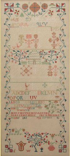 Frances Schwartz 1842 from Queenstown Sampler. This reproduction is a large Pennsylvania sampler that features classical Quaker floral sprays and stylized German flower motifs. This sampler was previously published in Sampler & Antique Needlework Quarterly, Fall and Winter, 2014.