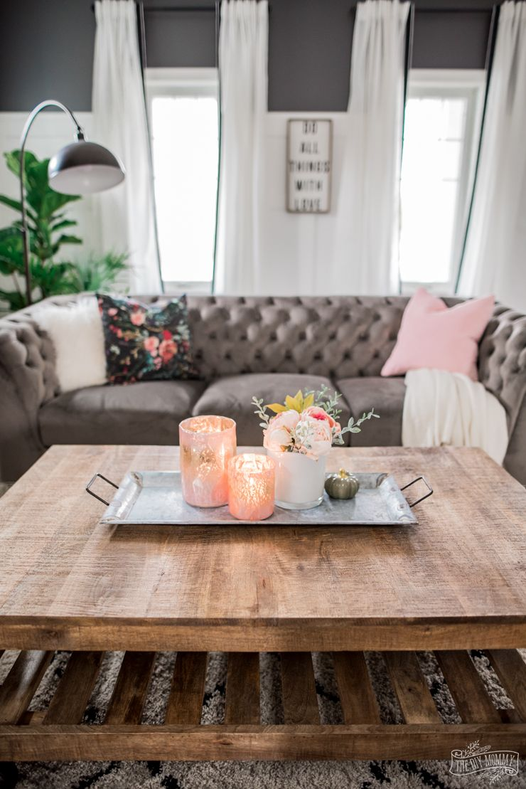 A Cozy Rustic Glam Living Room Makeover For Fall The Diy Mommy Rustic Glam Living Room Glam Living Room Living Room Makeover #white #rustic #living #room #furniture