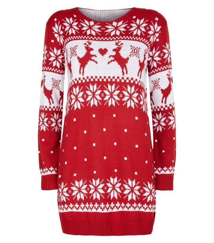 Mela Red Fairisle Knit Christmas Jumper Dress | Christmas jumper ...