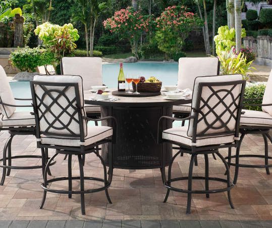 Member S Mark Fairbanks 8 Piece Fire Pit Dining Set Fire Pit Dining Set Outdoor Patio Furniture Sets Fire Pit Furniture