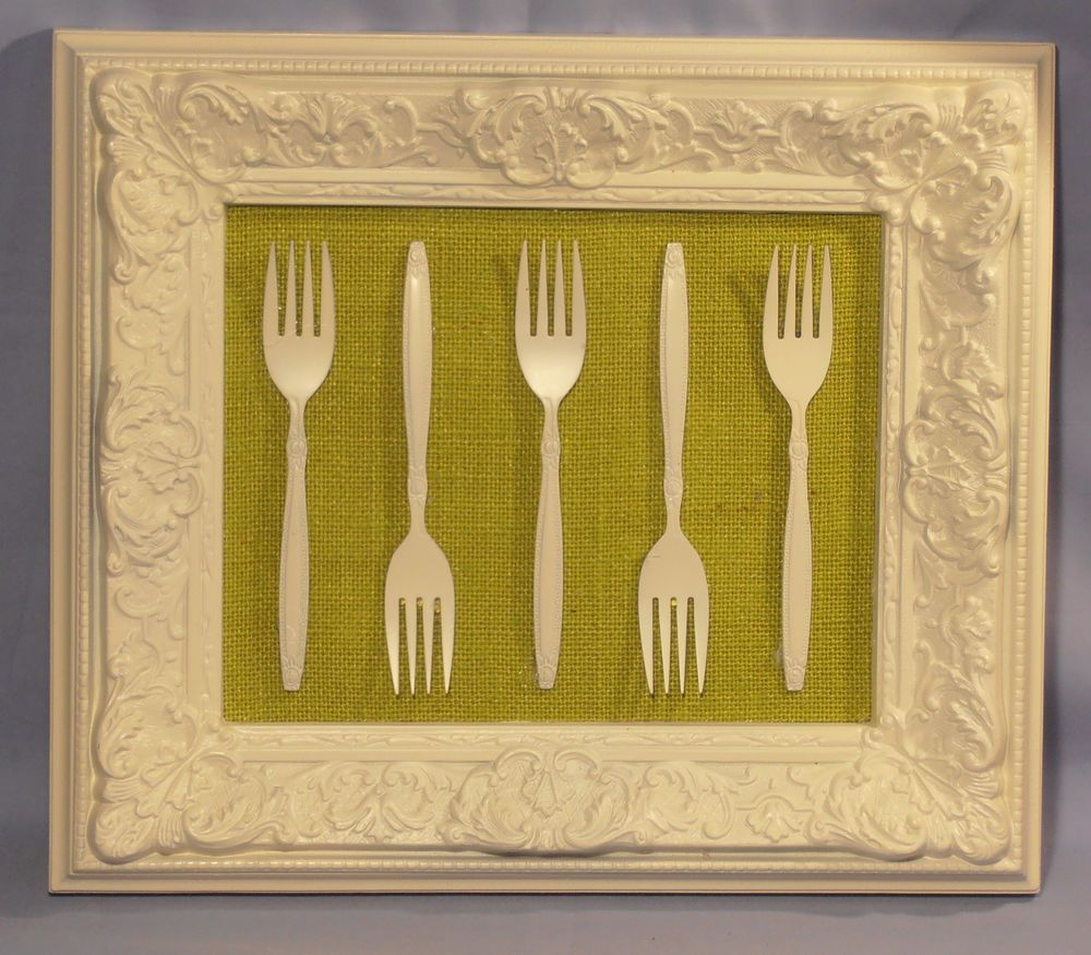 Kitchen Wall Decor 3D FRAMED FLATWARE Country Shabby art craft white ...