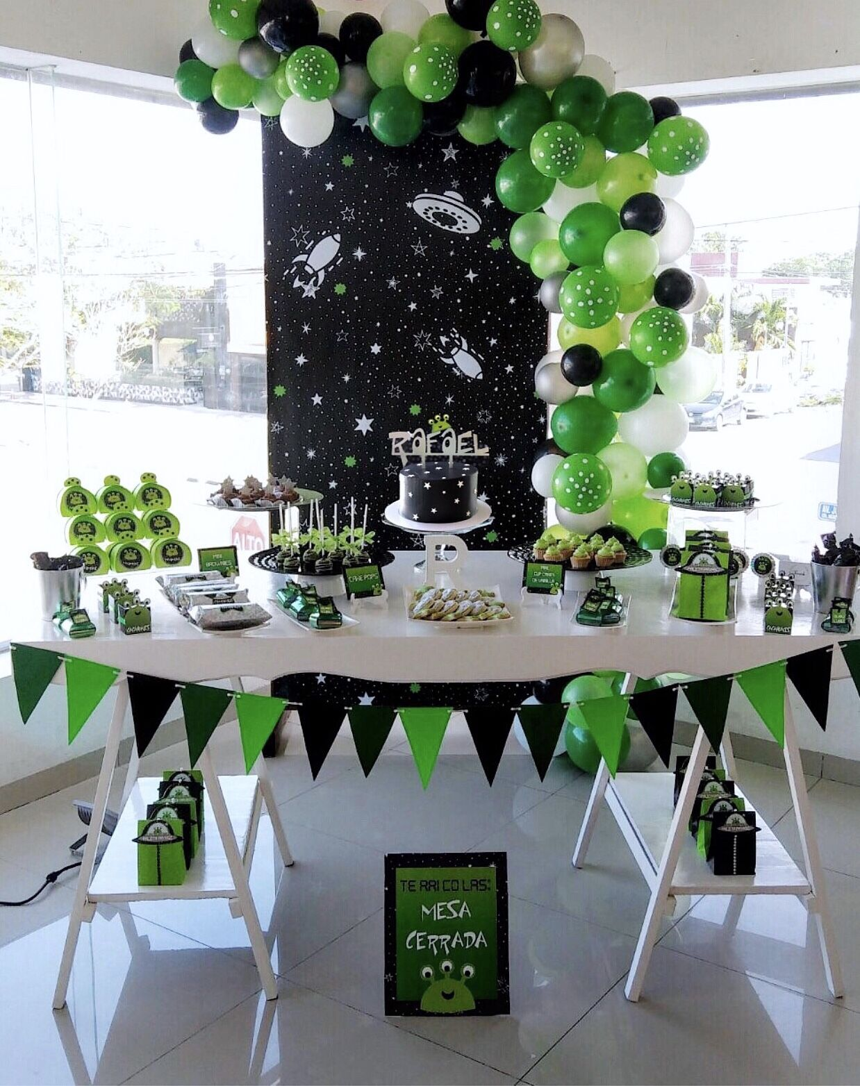 Baby Boy Alien Party Neon Green And Black Decoration Outer Space