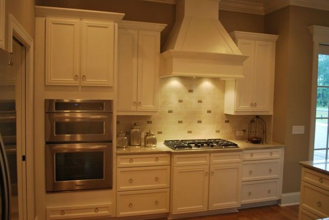White Painted Cabinets Built In Oven Cabinet Angeld Custom Hood Hollingsworthcabinetry Kitchen Oven Oven Cabinet Double Oven Kitchen
