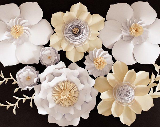 Telón de fondo, centro de mesa boda, gigantes de papel flores de papel flores