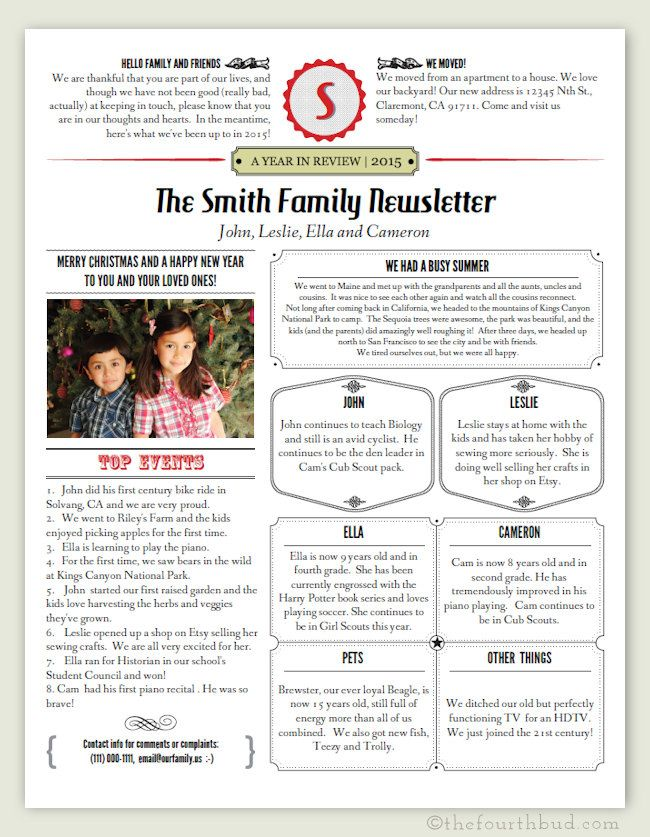 Christmas Newsletter Template In Pdf For Print Year In Etsy Christmas Lettering Christmas Newsletter Christmas Letter Template