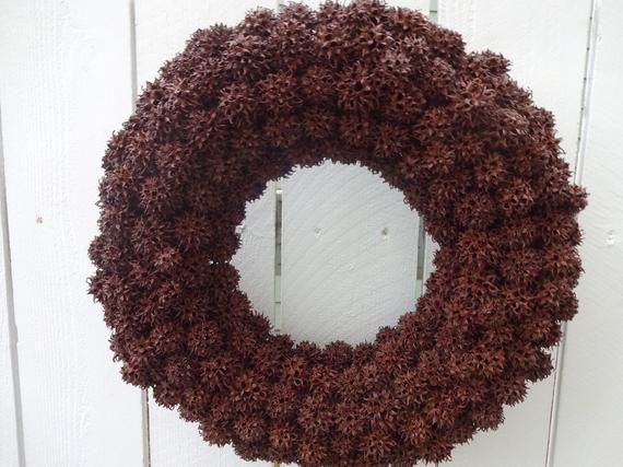 Photo of Items similar to Sweet Gum Ball Wreath Autumn Wreath Brown Wreath Natural Wreath Door Wreath Home Decor Autumn Wreath Round Wreath on Etsy