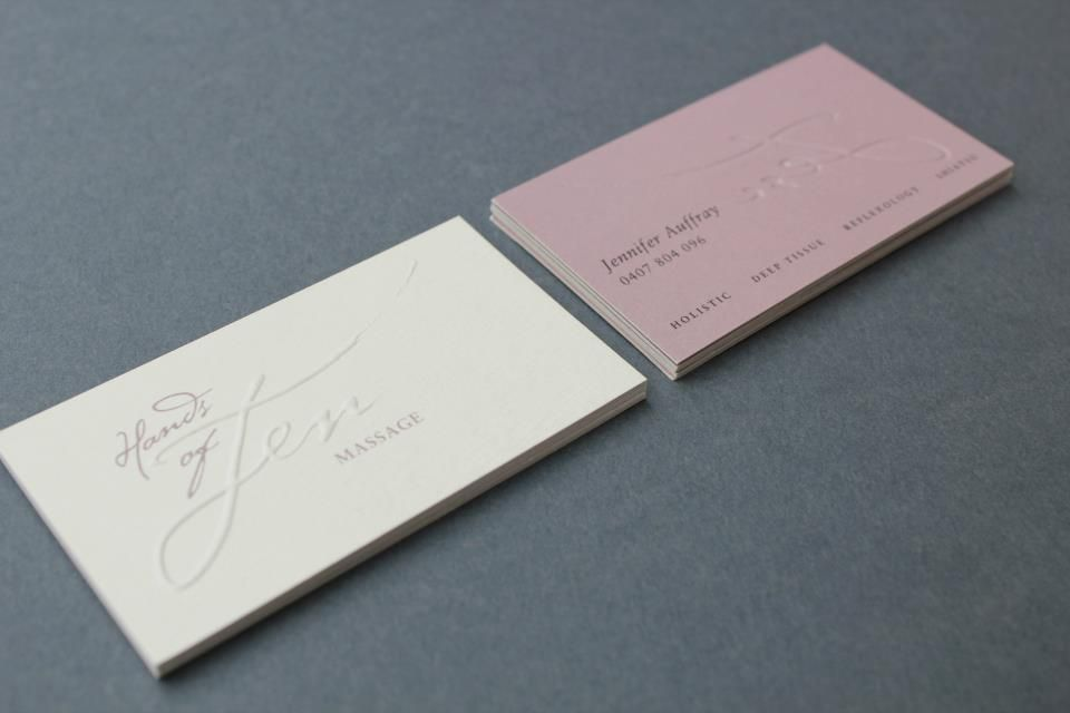 Logo and business card design for Hands of Jen massage. The ...