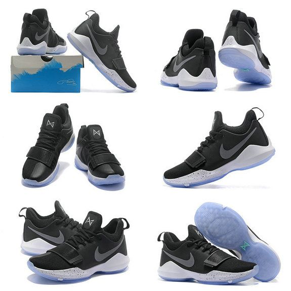 Free Shipping Only 69$ Nike PG 1 Paul George Shoes 2017 Black Ice Black  White