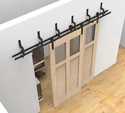 Byp Sliding Barn Wood Door Hardware Black Rustick Track Kit