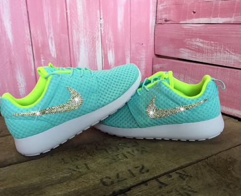 b46ff25fe43e Crystal Swoosh Glitter Shoes - Nike Roshe One Tiffany Blue Volt - Click  Image to Close