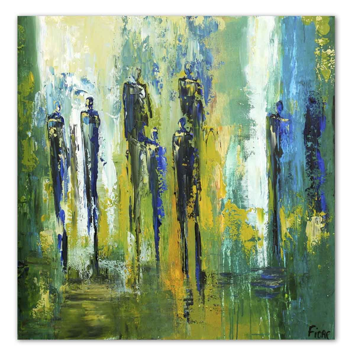 Modern schilderij abstract met blauwe figuren van de for Moderne schilderijen