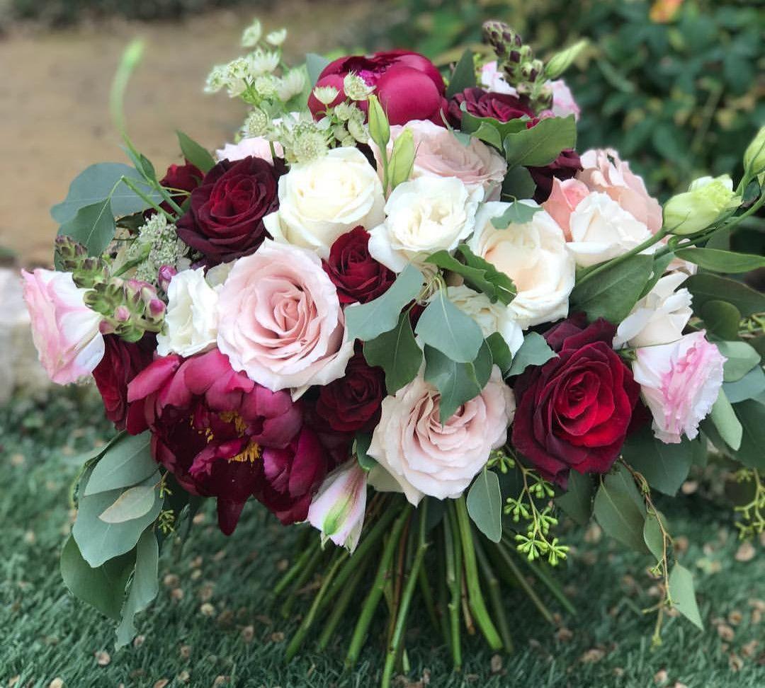 burgundy and blush bouquet Blush wedding centerpieces