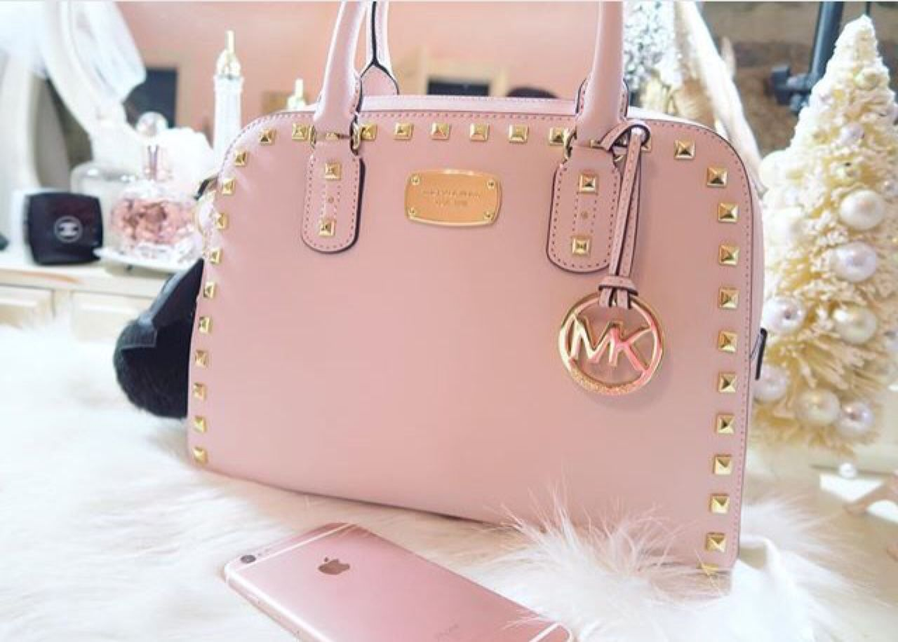 Mychanelguide Michael Kors Large Saffiano Studded Satchel Ig Credit Gabriellademartino