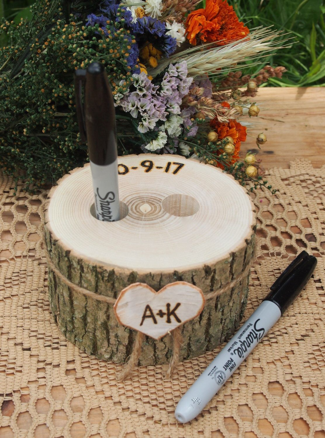 Wood Pen Holder Guest Book Wedding Table Wood