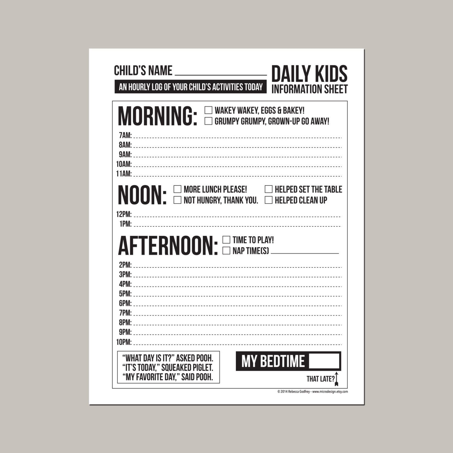Daily Babysitting or Nanny Report: printable pdf sheet by ...